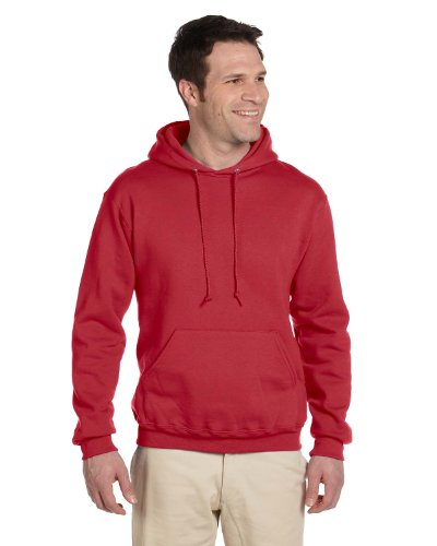 JERZEES SUPER SWEATS - Pullover Hooded Sweatshirt. 4997M - True Red_S - Jerzees 4997 Hoodie Sweatshirt