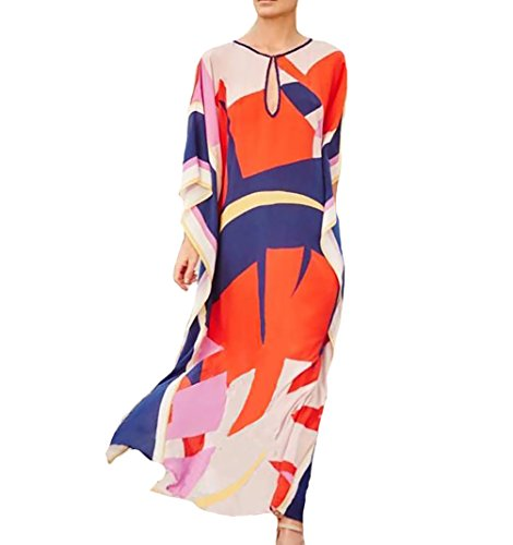 Bigbigfuture Women's Print Kaftan Loungewear Caftan Beach Long Dress Bikini Swimsuit Cover up Swimwear (Print O)