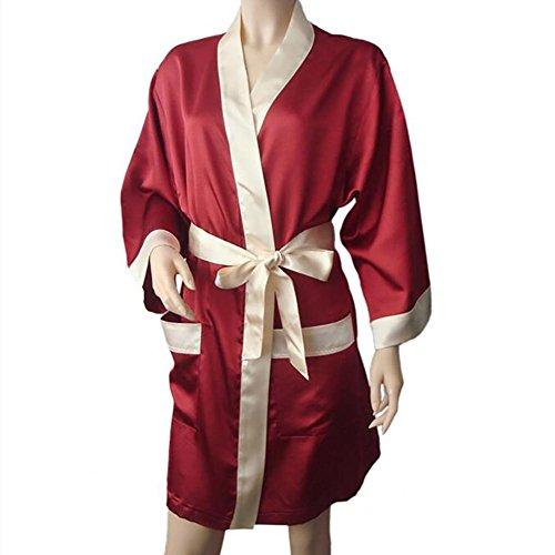 HXQ Bañadores de Mujer Short Kimono Robe Satin Sleepwear Silky Nightgown , blue Red