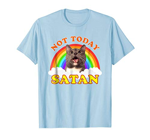 Not Today Satan T-Shirt   Rainbow Cat Death Metal