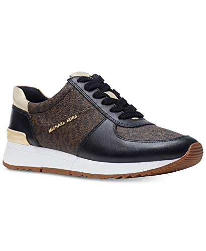 Michael Kors MK Women's Allie Trainer Leather Sneakers Shoes Blk/Brown ()