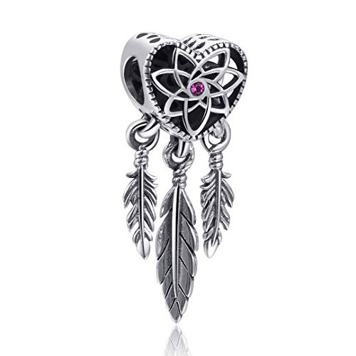 Angemiel 925 Sterling Silver Heart Spiritual Dream Catcher Dangle Charm for Snake Chain Bracelets Necklace, Lucky Charms Inlaid with 5A Cubic Zirconias