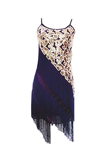 the Flapper Charleston Prohibition Party Zumba Dance 1920s Dress Costumes , Purple/gold, 4/8]()