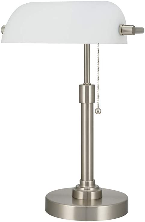 Ravenna Home Classic Straight Banker s Task Desk Lamp with LED Light Bulb, 16 H, Brushed Nickel