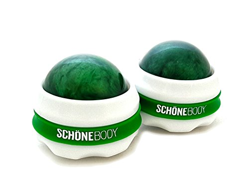 Schöne Massage Ball Roller, Body Massage 2 Piece Deluxe Set for Massage Therapy Back Massagers, Can Be Used With Essential/Massage Oils and Lotion (Green)