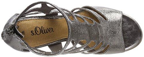 s.Oliver Damen 28318 Peeptoe Sandalen silber (pewter)