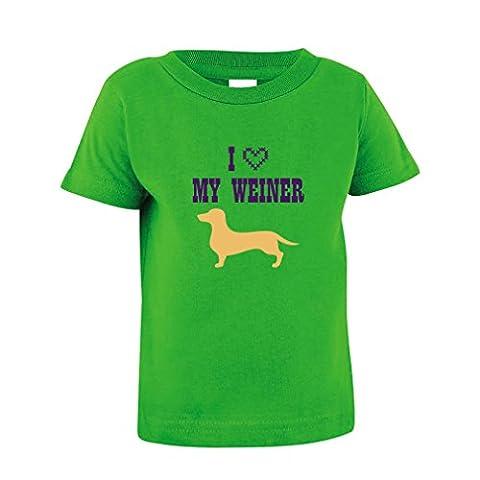 I Love My Weiner Toddler Baby Kid T-Shirt Tee Apple Green 18 Months - Weiner Green T-shirt