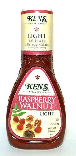 Ken's Light Raspberry Walnut Dressing (Pack of 3) 9 oz Bottles