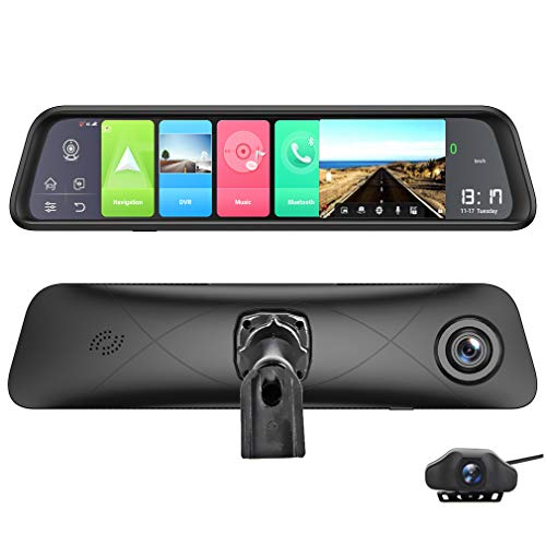 ShiZhen K980 12 inch Full Screen 4G Touch IPS Special Car Dash Cam Rear View 4G RAM+32G ROM Android 8.1 Mirror with WiFi GPS Navi Remote Monitor Bluetooth Music Dual Lens FHD 1080P