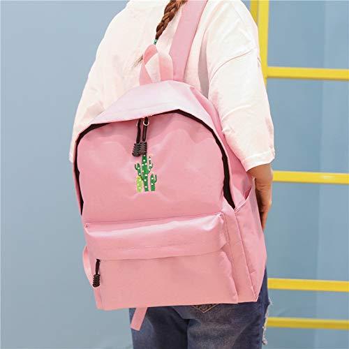 Fille Sac Sac Dos Toile Simple École Femmes Escolar Pink À Étudiants Rucksack Femmes Mochila VHVCX Dos Sac Broderie Cactus À aAxPzz