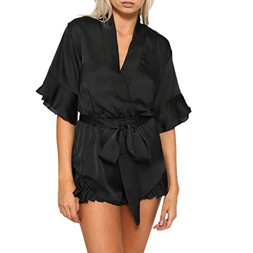 QIQIU Womens New Chiffon Sexy Ruffled Jumpsuit with Belt Casual V-Neck Summer Fashion Short Sleeve Short Elegant Rompers Black -