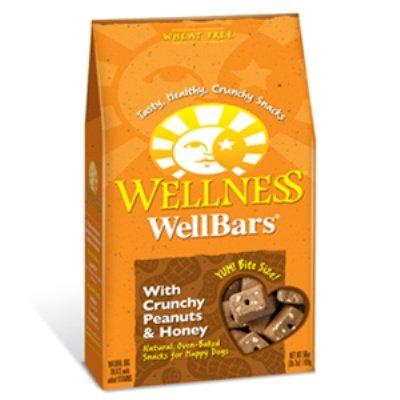 Wellness Wellbars Crunchy Wheat Free Natural Dog Treats, Peanuts & Honey, 45-Ounce Box
