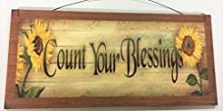 Sunflower Count Your Blessings Wooden Wa...