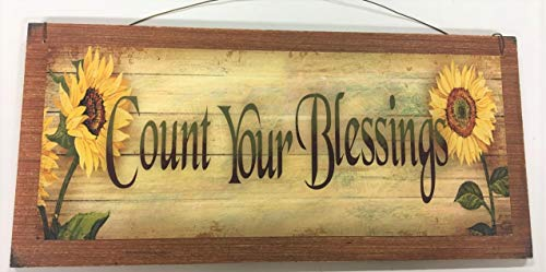 (Sunflower Count Your Blessings Wooden Wall Art Sign Country Fall)