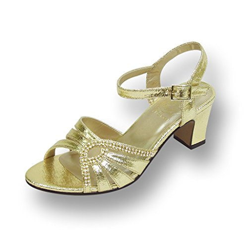 FIC FLORAL Carla Women Extra Wide Width Heeled Dress Sandal GOLD 8 - Gold Shoes Wide