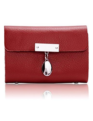 Ocaler® Vintage Real Genuine Leather Card Case Coin Bag Purse Wallet (Red)