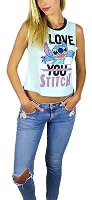 Disney Womens Lilo & Stitch Ringer Muscle Cropped Tank Mint