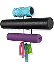 Wallniture Guru Wall Mount Yoga Mat Foam Roller and Towel Rack with 3 Hooks for Hanging Yoga Strap and Resistance Bands at Your Fitness Class or Home Gym 3-Sectional Metal