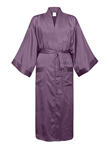Swhiteme Men's Kimono Robe, Large/X-Large, Dusty Purple (Male Robes)