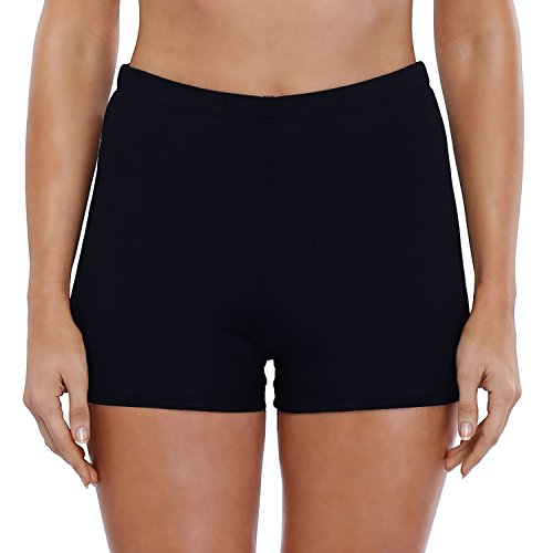 (Vegatos Women's Swim Boardshots Solid Boyshorts Swimwear Rash Guard Shorts Black )