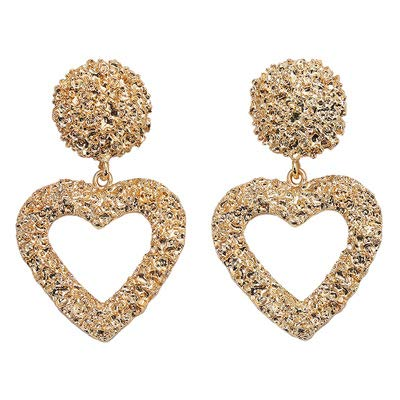 Gold Heart Earrings Large Raised Design Metal Silver Gold Plated Dangle Drop Earring for Women Girls Boho Textured metallic pendant Statement Jewelry (GOLD)