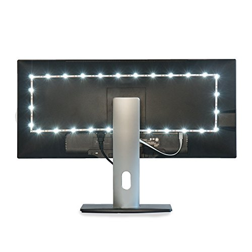 Luminoodle TV Bias Lighting - USB Powered LED Light Strip Kit - TV Backlight Home Theater Light System - White - Medium (24