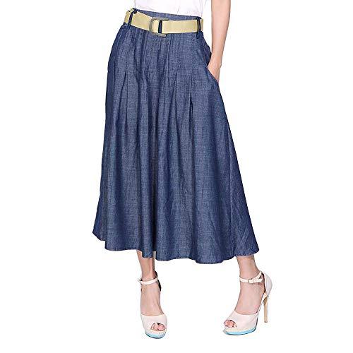 (Kaachli Women's Blue Petite Cotton Thin Denim Midi Skirt with Belt (1122-Blue-L))