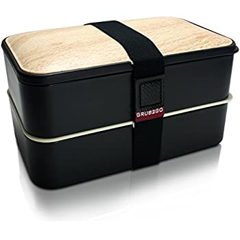 THE ORIGINAL Bento Box by GRUB2GO w/ FREE Ideas Guide + Utensils - Leakproof Lunch Container - Black/Wood