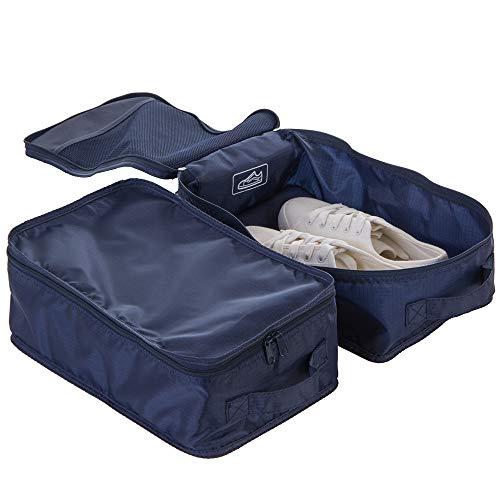 Travel Shoe Bags, Foldable Waterproof Shoe Pouches Organizer-Double Layer (2 Navy shoe bags, Foldable-2 Bag)