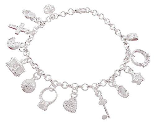 DaisyJewel Charm Lovers Delight Adjustable 7 in - 7.75 in Charm Bracelet (Rolo Bracelet Textured Oval)