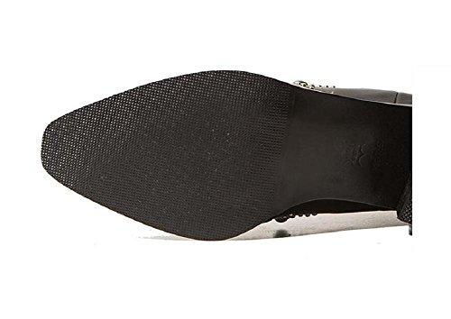 ruvido British rivetti forte Style strass Slim temperamento donna 37 pelle Bootie 37 scarpe in xZrX8wq1Z