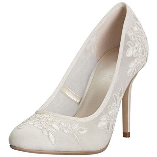 Round-Toe Mesh Pumps with Corded Lace Appliques Style Adley, Ivory, -