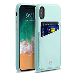 "Apple iPhone X Case, Cobble Pro Premium Handcrafted Leather Case Cover with ID Credit Card Slot Holder For Apple iPhone X 5.8"" (2017), Mint Green"