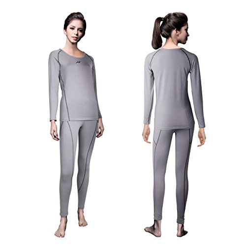(FITEXTREME Womens MAXHEAT Fleece Long Johns Thermal Underwear Set LightGray S)