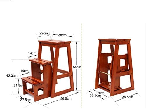 Taburete de salón Taburete plegable multifuncional, taburete de madera maciza, escalera portátil de dos peldaños, escalera pequeña de madera, estante para zapatos, soporte para flores. - taburete: Amazon.es: Hogar