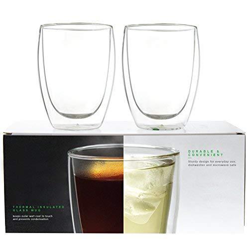 LINKYO Glass Coffee Mugs - Double Wall Insulated Drinking Cups, 2-Pack (10.5 oz)