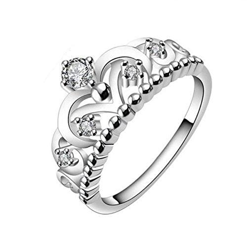 KeyZone Lady Elegant Silver Plated Gorgeous CZ Princess Crown Tiara Wedding Band Eternity Ring Size 8