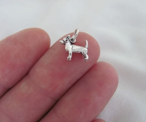 Small Sterling Silver Chihuahua dog miniature charm.Jewelry Making Supply Charm, Bracelets and More by Wholesale Charms