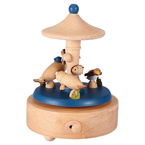 Zerodis Wooden Music Box with Dolphin Aquarium Creature Mediterranean Wind Musical Box Crafts Ornaments for Children's Gift,Birthday,Wedding,Christmas - Fish Music Box