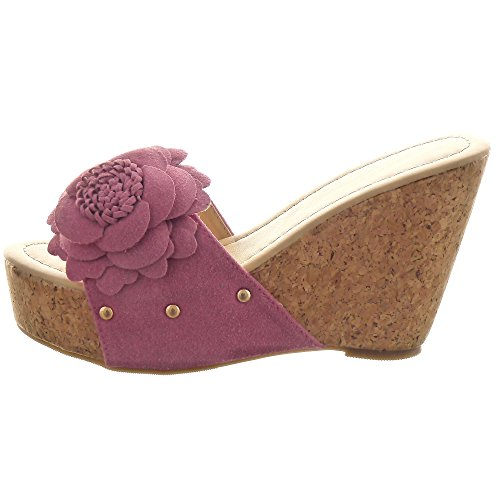 Sopily - Zapatillas de Moda Sandalias Zapatillas de plataforma Tobillo mujer flores tachonado Talón Plataforma 10 CM - Rosa