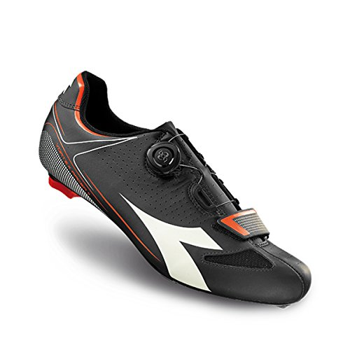 Diadora Vortex Racer II Shoes - Men's Black/White/Red Fluo, 41.0