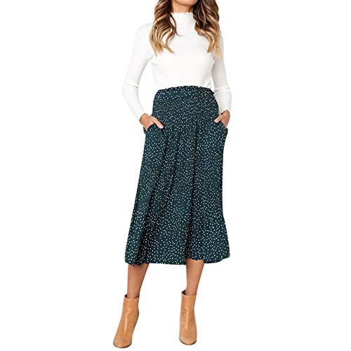 Thenxin Casual High Waist Polka Dot Midi Skirt for Women Retro Pleated Swing Long Skirt(Green,S)