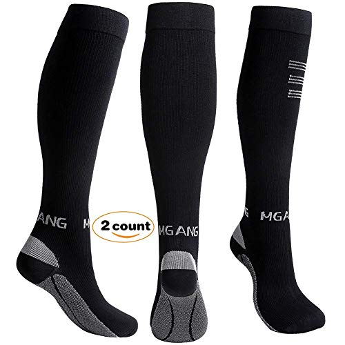 Compression Socks, 20-30mmHg BEST Recovery Performance Graduated Compression Stockings for Men Women. Athletic Sports socks, Running, Travel, Relieve Swelling, Varicose Veins, Edema, 1 Pair Black XXL