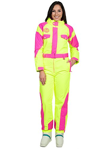 Tipsy Elves Women's Powder Blaster Ski Suit: X-Large Neon Yellow