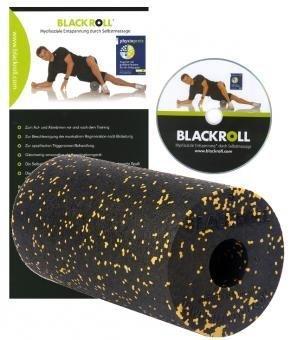 Blackroll Unisex Standard Selbstmassagerolle, schwarz/gelb, 30 cm