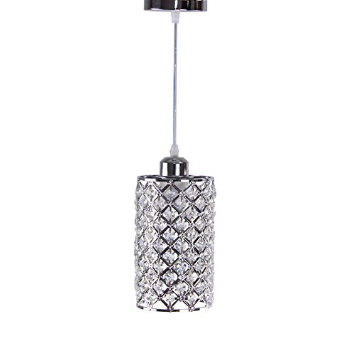 Winretro Modern Ceiling Chandelier Crystal Mini lamp a Cylindrical lamp Electroplating Finish nets Crystal Shade Living Room, bedrooms Dining by Winretro(Chrome)