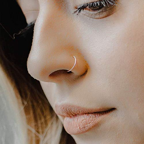 14k Rose Gold Filled Adjustable Metal Hoop Nose ring - 22 Gauge 6-8 mm