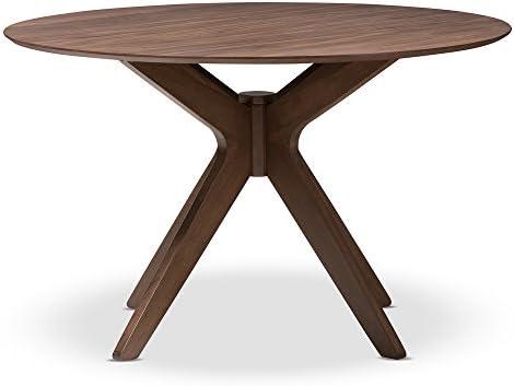 Baxton Studio Lyla Mid-Century Modern Walnut Wood 47-Inch Round Dining Table