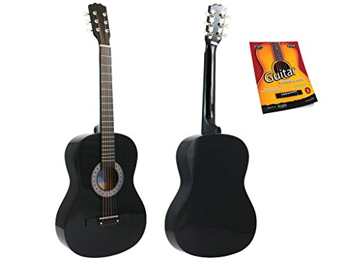 Star Acoustic Guitar 38 Inch with Beginner's Guide, Black by Star