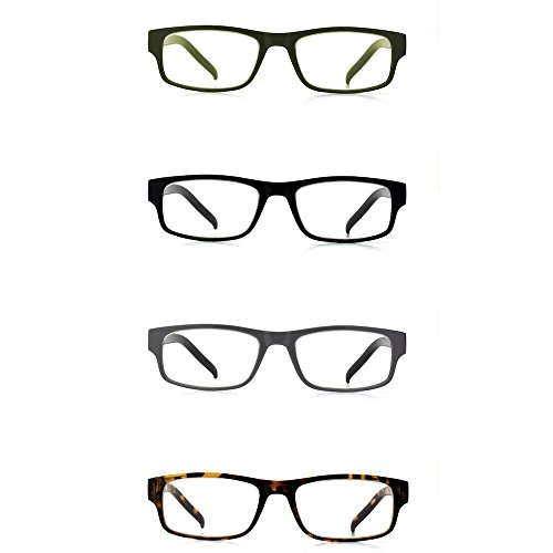 Typografia Optical Premium Spring Hinge Designer Reading Glasses (Pack of 4) (2.00, 4-Color Variety (black, green, grey&black, - Glasses Classy Reading